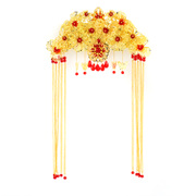 Good jewelry beautiful beauty bride Chinese qipao headdress costume fringed dress hair ornament set-red