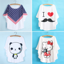Japanese ladies batwing coat in summer Leisure cartoon printing blouse with short sleeves render T-shirt unlined upper garment to bigger sizes students