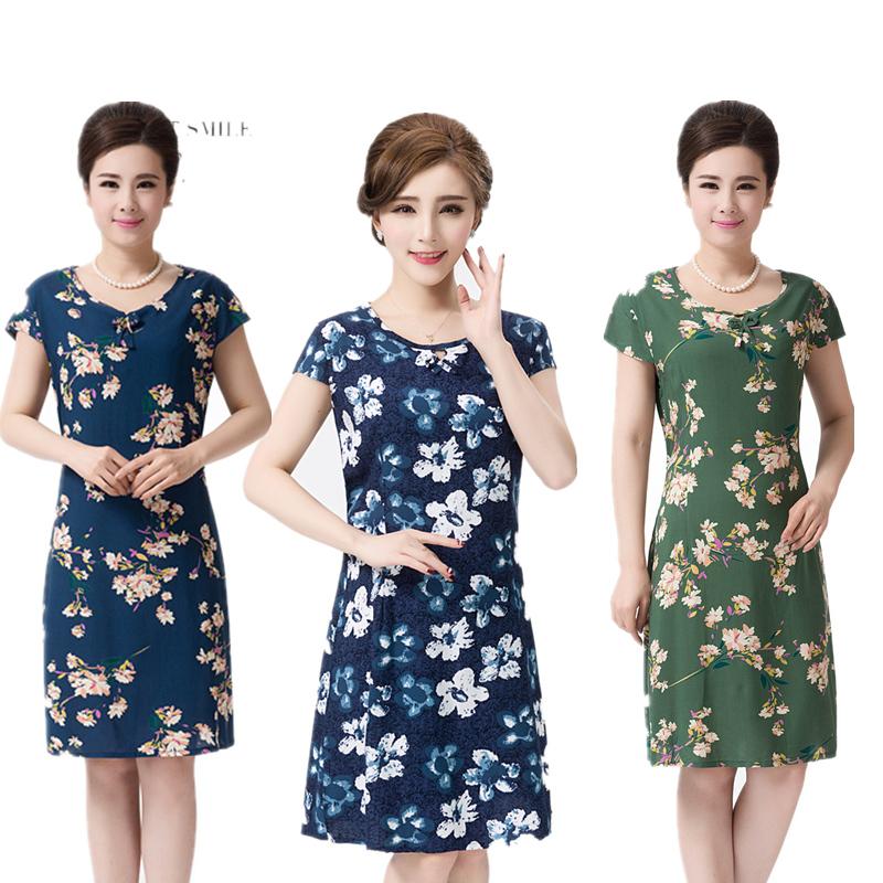 中年女装夏装连衣裙中长款短袖棉绸大码妈妈装宽松款2018新款特价