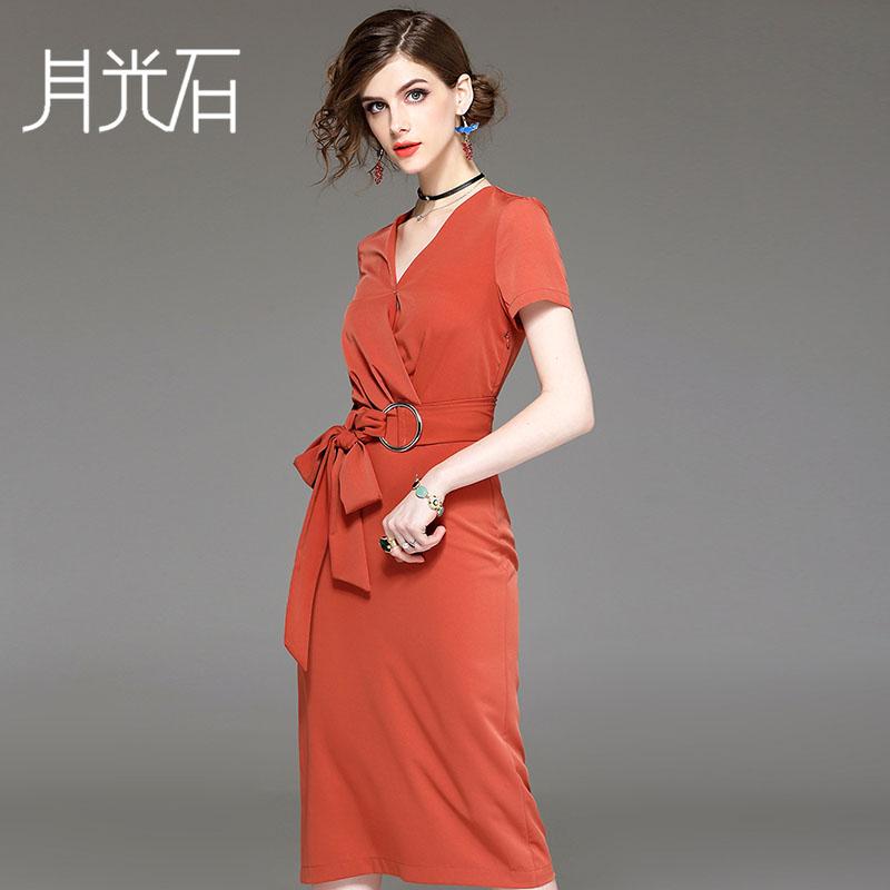 月光石2017夏季新款V领气质修身显瘦拼接连衣裙送腰带女装AL8034