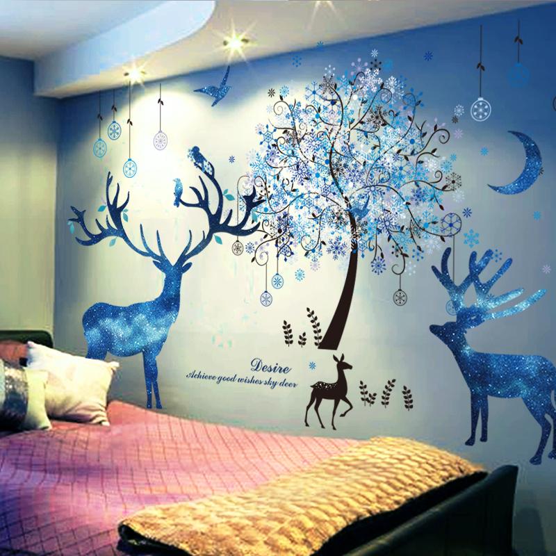 Спальня теплый наклейки для стен бумага наклейка девушка комната фон прикроватный обои комната с несколькими кроватями творческий самоклеящийся комнатный декоративный статья