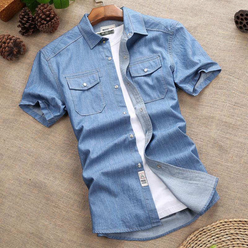 牛仔襯衫男短袖 薄款男士襯衣大碼上衣服寬鬆寸衫AFS JEEP外套潮