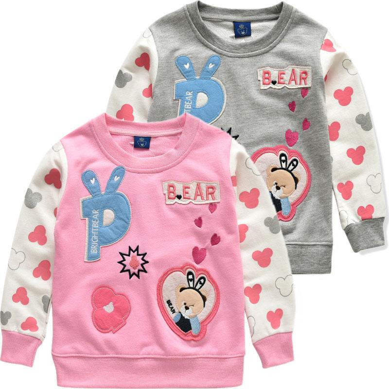 2016 Весна загружена новая Корея медведь износа t с длинным рукавом хлопка свитер детей пальто для девочек вершины Тайд