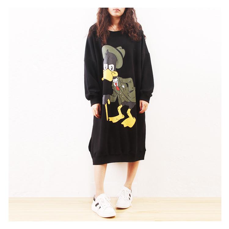Осенние новый корейский случайных мультфильм письма напечатаны тонкие длинные свободные рубашки свитер плюс размер платья
