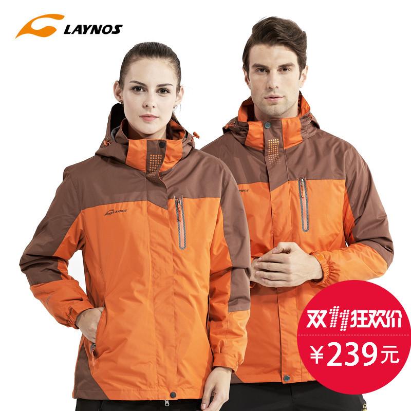 雷諾斯衝鋒衣三合一女 兩件套情侶戶外防風外套防水登山服男士