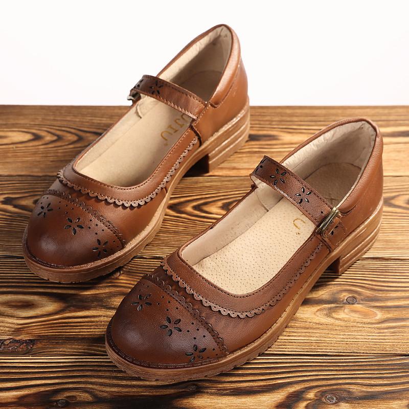 叙旧玛丽珍日系平底森女鞋文艺真皮单鞋棉麻复古雕花牛皮浅口女鞋