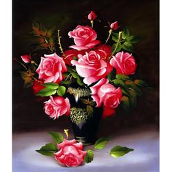 十字绣2020新款线绣客厅小幅油画玫瑰花瓶卧室自己绣手工小件餐厅