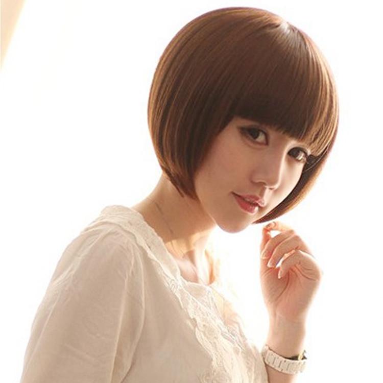 Wig womens short straight hair bag head with bangs