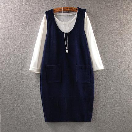孕妇装秋大码韩版孕妇裙春装 时尚两件套孕妇连衣裙潮