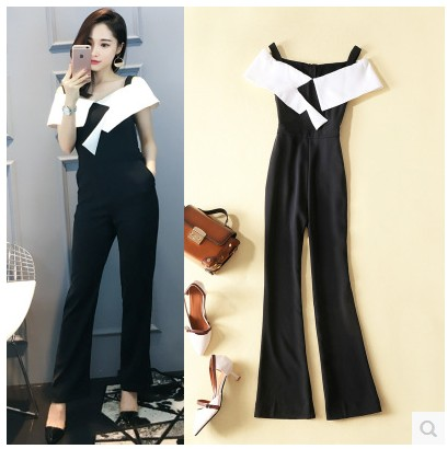 European station suspender, lady, sleeveless, slim and slim, summer womens straight tube jumpsuit, high waist and wide leg pants