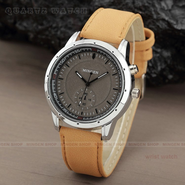 Msp018-1-3 mens Quartz wristwatch with a new boutique alloy case and frosted leather strap