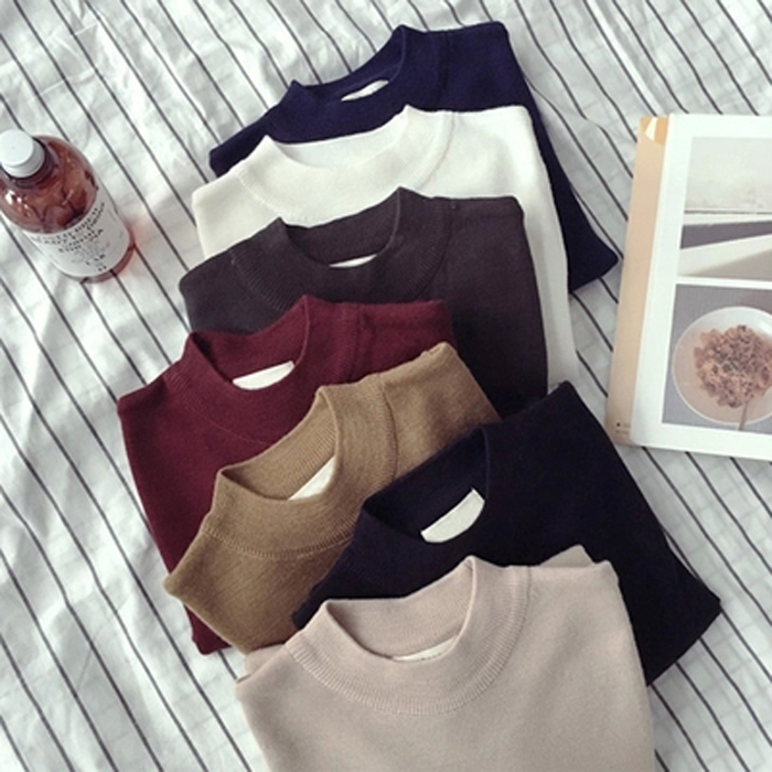 New winter half high collar long sleeve bottoming shirt for womens slim, solid color Pullover Sweater and sweater top