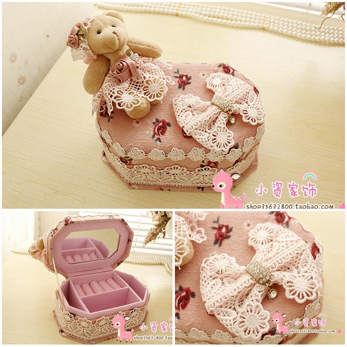 Электронной почте кружево Принцесса Кружева мишка украшения Ou Ханси косметическая коробка драгоценность коробка восьмиугольной ювелирные коробки