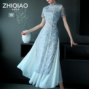 2017新款夏季越南奥黛改良旗袍日常显瘦修身低领长款连衣裙旗袍裙