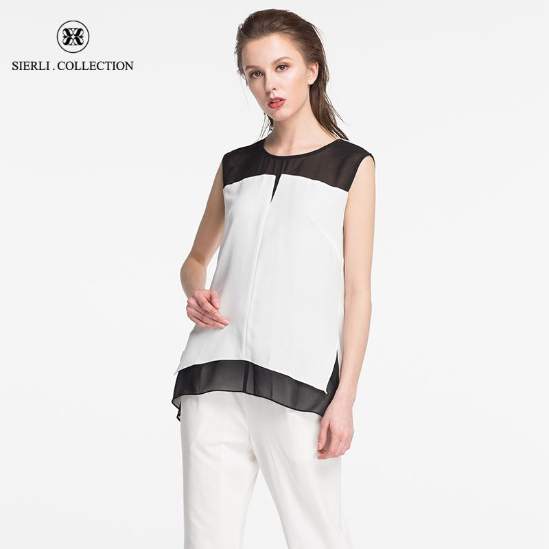 斯尔丽瑟俪正品商场同款夏季新时尚黑白撞色无袖圆领上衣衬衫