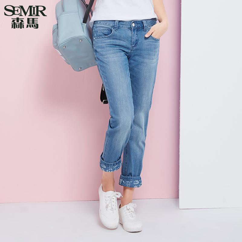 森馬牛仔褲 2016夏裝 女士中低腰顯瘦小直筒牛仔長褲子 潮