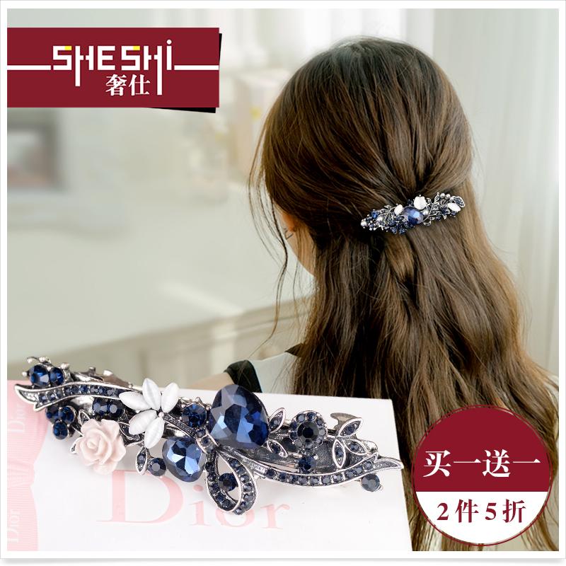 发饰韩国复古后脑勺发夹发卡一字夹卡子大号水钻弹簧夹顶夹头饰品