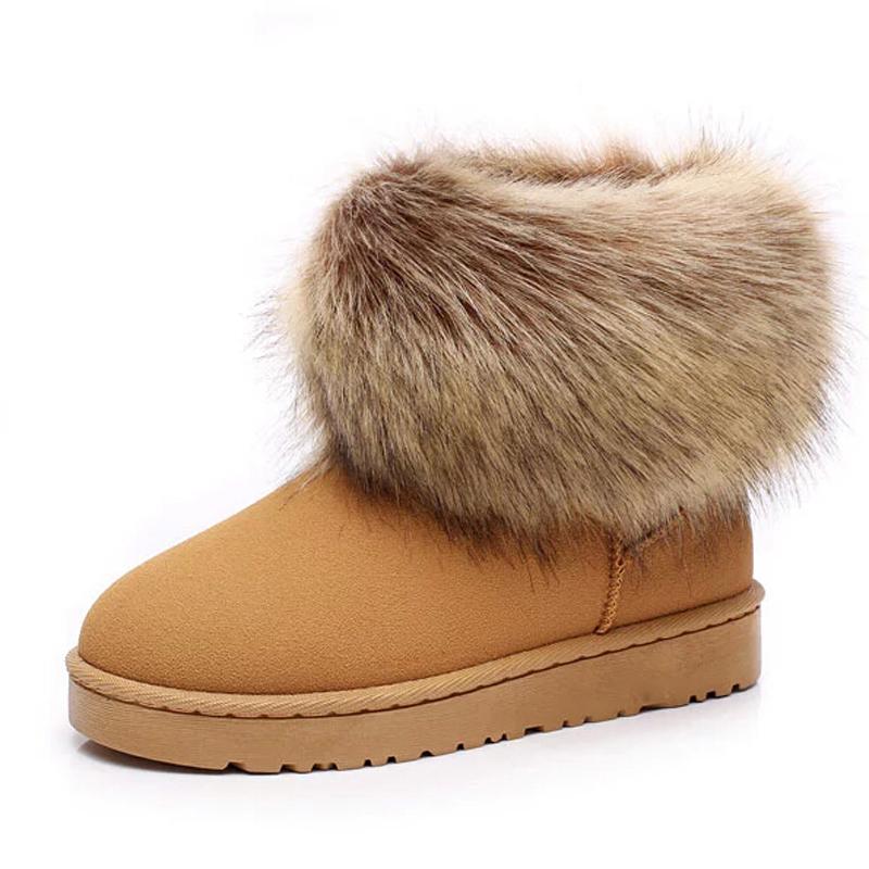 防滑女鞋超大仿狐狸毛雪地靴短靴短筒女靴子 毛毛 棉靴