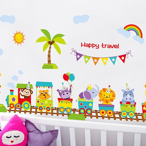 兒童房間裝飾品牆紙貼畫寶寶臥室幼兒園可移除卡通動物火車牆貼紙