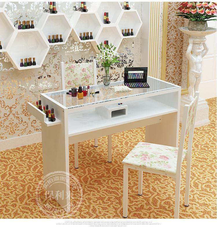 美甲桌子双人单人三人双层玻璃面美甲店工作台简约现代特价包邮