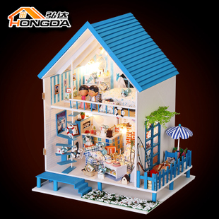 Hongda DIY hut romantic Aegean handmade large villa house assembled Miniature birthday gifts girls