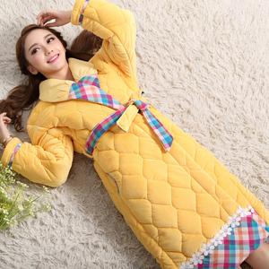 冬季新款甜美风贝贝绒夹棉睡袍女冬加厚加长款珊瑚绒女士保暖浴袍