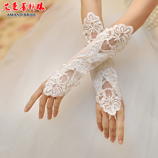 Yi Mandi bride married gloves wedding dress gloves hook finger fingerless lace satin gloves lengthen warm 19