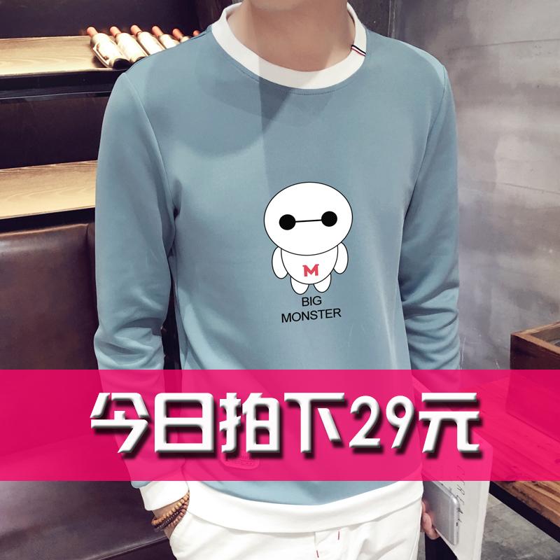 KXX 男裝T恤 青少年圓領修身長袖衛衣 男士卡通印花學院風