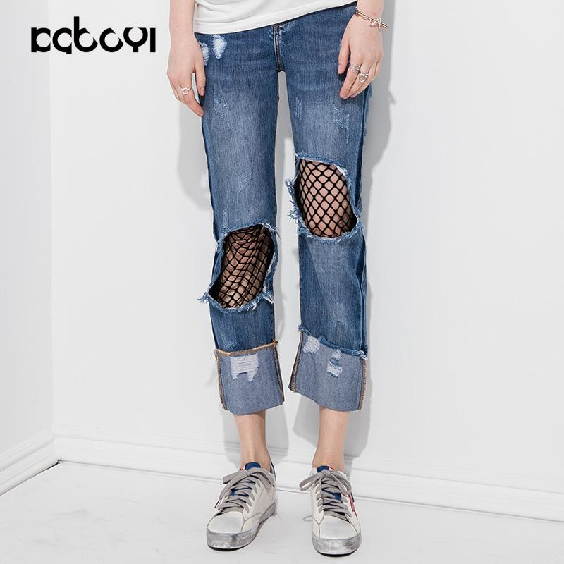 卡布依设计师品牌女装夏季新品限量款破洞网布直筒休闲牛仔裤