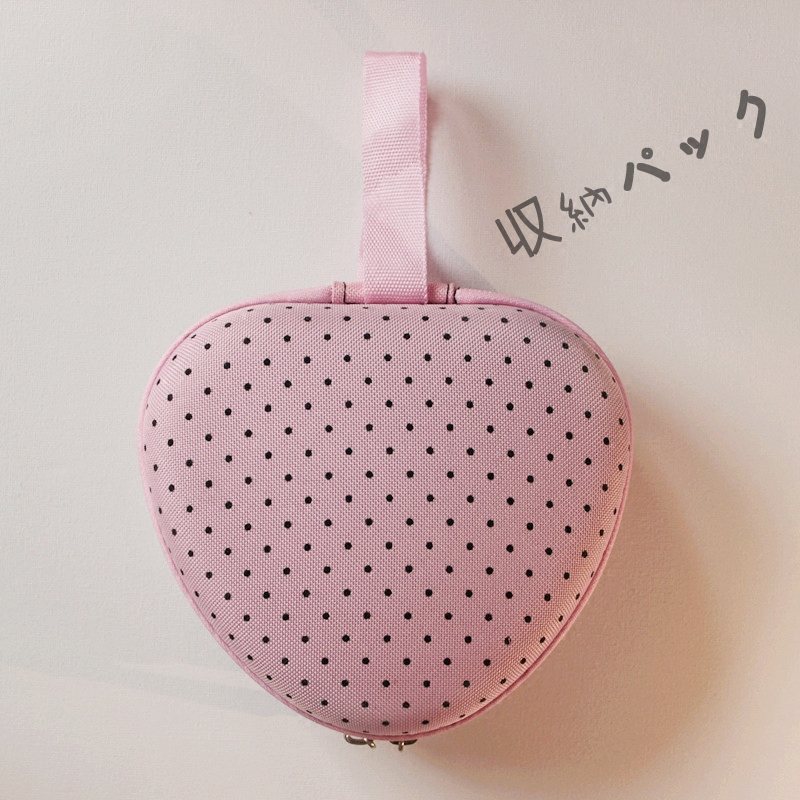 日式清新粉波点硅胶隐形文胸爱心形便携收纳包内衣盒抗压携带包邮