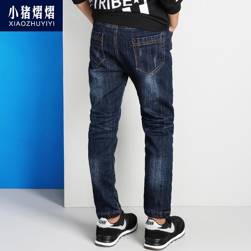 兒童褲子男童牛仔褲秋 中大童褲 褲寶寶加絨褲子長褲49