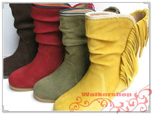 The castle counters quality goods increased within a clearance sale wedges leather tassel leisure female boots 70374