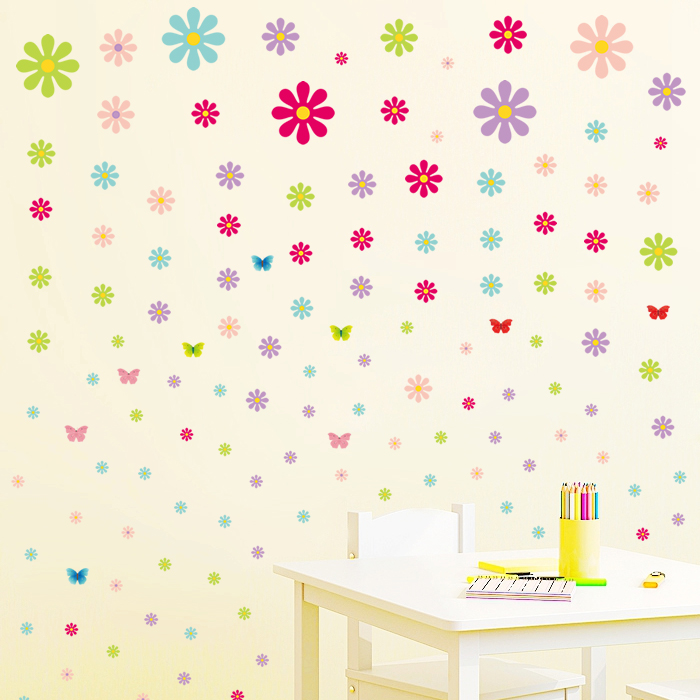 墙贴彩色缤纷浪漫满屋床头卧室背景墙婚房小花蝴蝶贴饰墙上装饰品