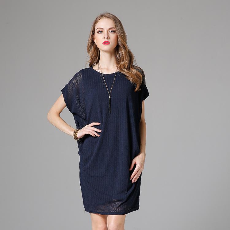 欧美大码女装两件套连衣裙 夏季圆领蝙蝠袖纯色宽松显瘦针织裙