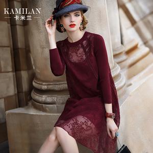 卡米兰秋冬新款桑蚕丝连衣裙女两件套宽松七分袖真丝中长裙