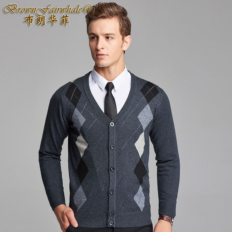Autumn and winter mens cardigan sweater knitted bottomcoat V-neck cardigan coat Diamond Fashion gentle warmth