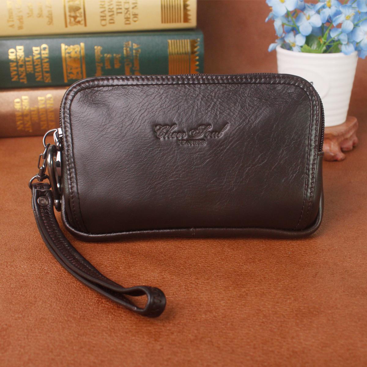 喜枝秀男士牛皮手拿包穿皮带腰包5.7寸6寸6.3寸手机包真皮男包包