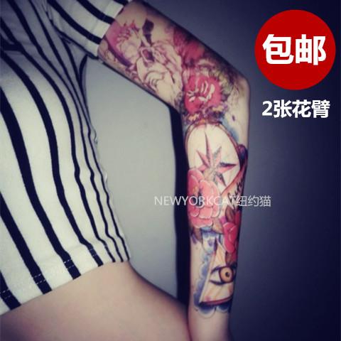 «Нью-Йорк Сити Кот» один яркие глаза Роза + волк девушка татуировка водонепроницаемый глаз цветок руку татуировки наклейки