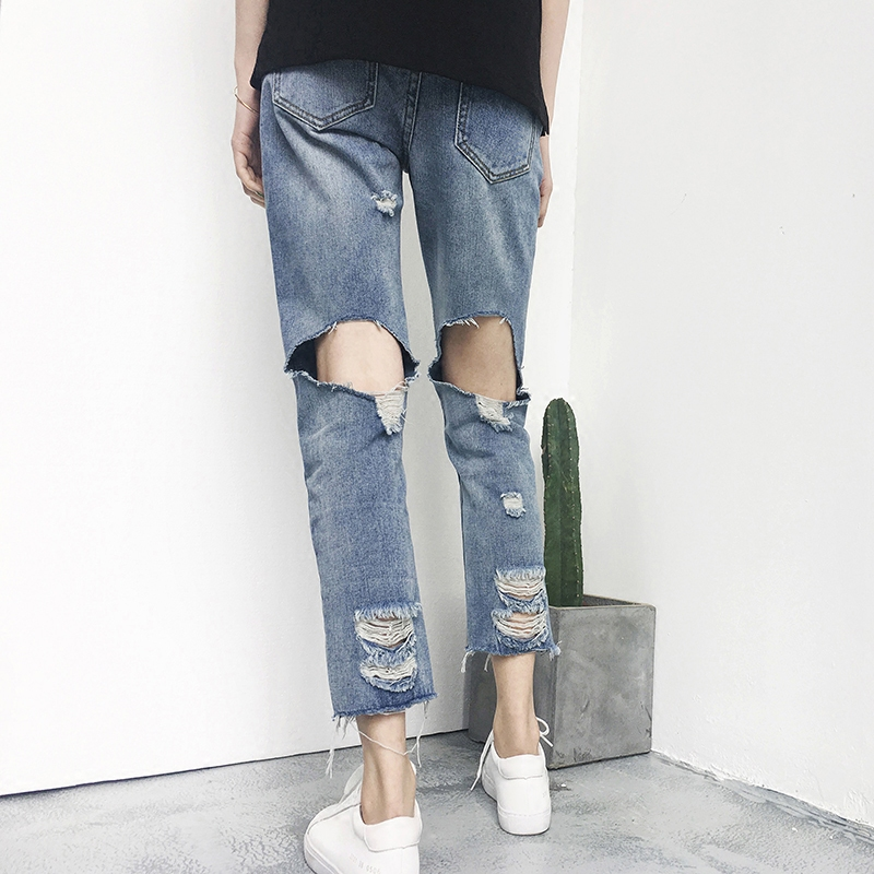Package mail summer rough edge Korean version versatile light color small foot hole nine point jeans women BF show thin straight tube beggars pants