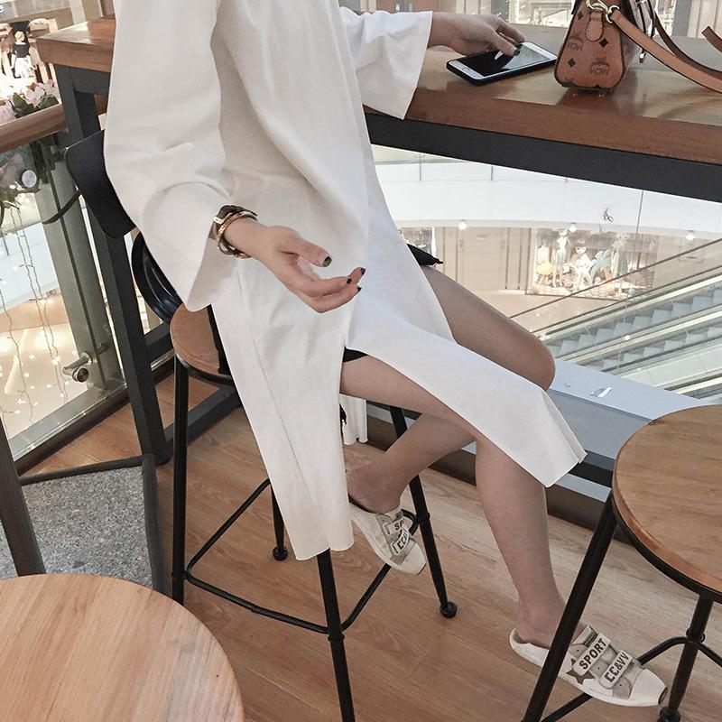 2018秋款韩版女t恤裙bf风港味百搭宽松纯棉开叉中长款t恤打底衫裙
