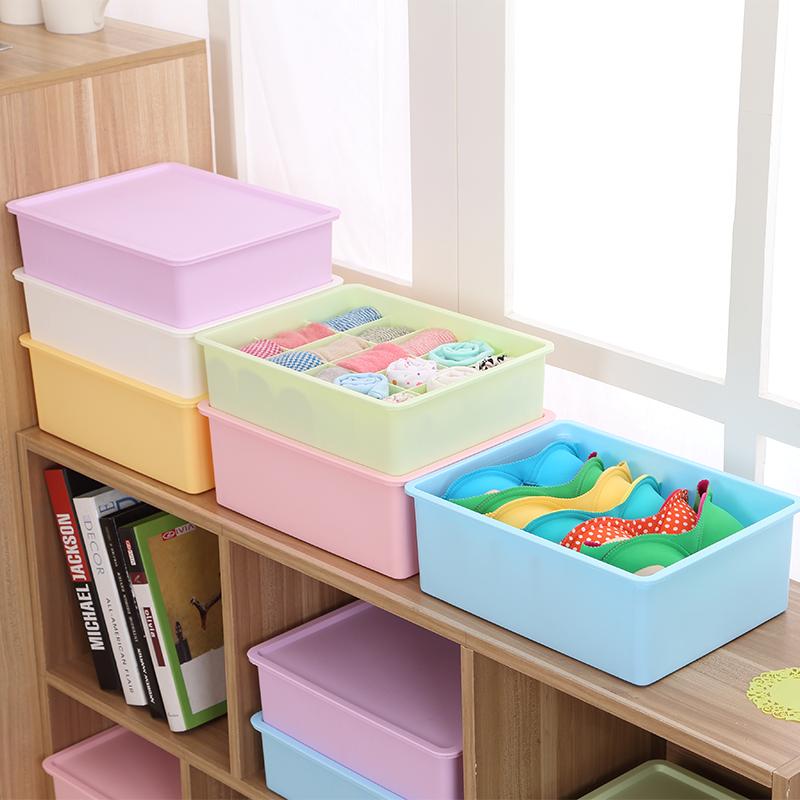 蜜蜜花加厚塑料内衣收纳盒三件套 文胸袜子内裤收纳箱有盖整理盒