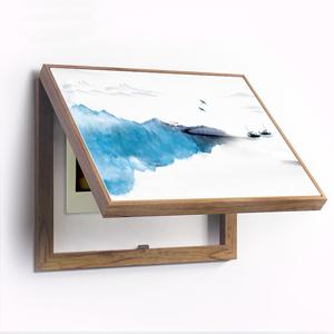 新中式禪意山水電表箱裝飾畫現代配電箱空氣開關電閘翻蓋禪意水墨