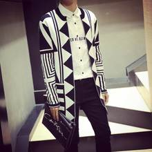 Autumn long youth sweaters in han edition men sweater cardigan coat personality geometric designs sweater