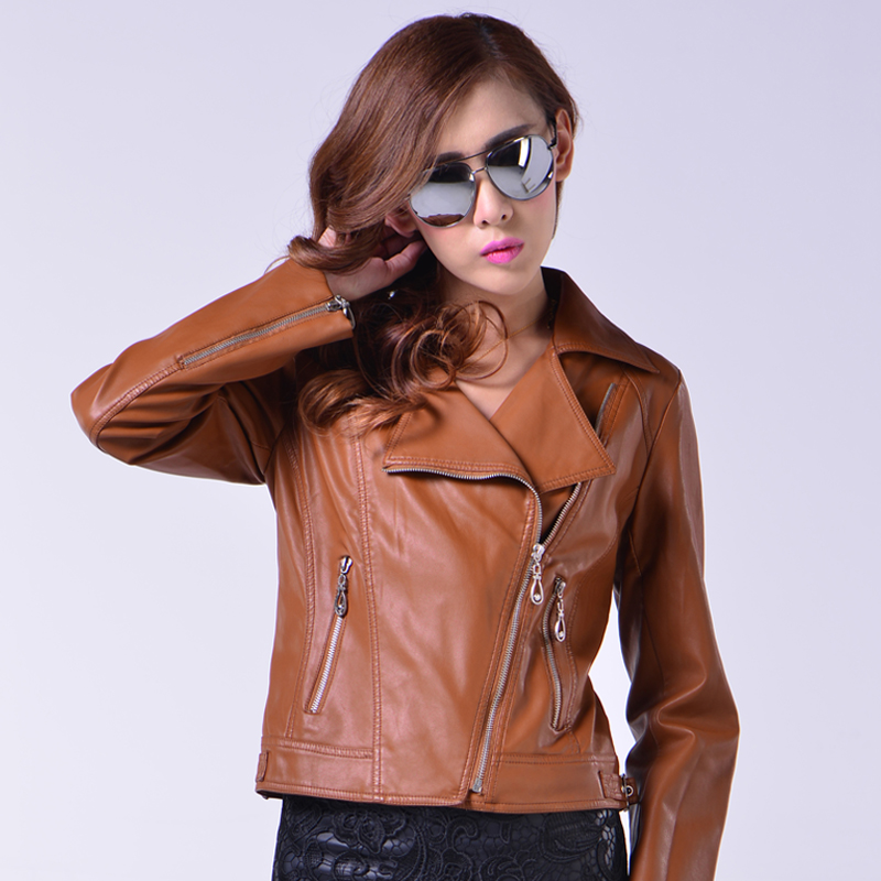 Womens autumn and winter washed leather slim jacket spring and Autumn New Womens short motorcycle PU leather jacket