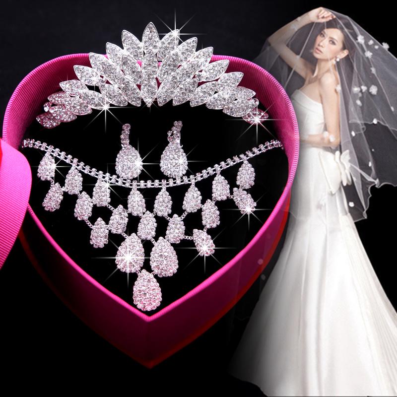 Золотой невеста любовь литье смысл близко свадьба платья аксессуары императорская корона ожерелье, серьги три образца невеста выйти замуж аксессуары