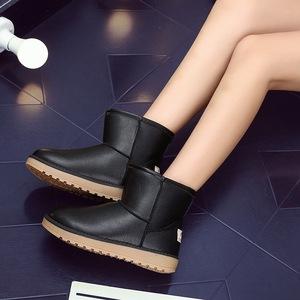冬季平底雪地靴短筒...