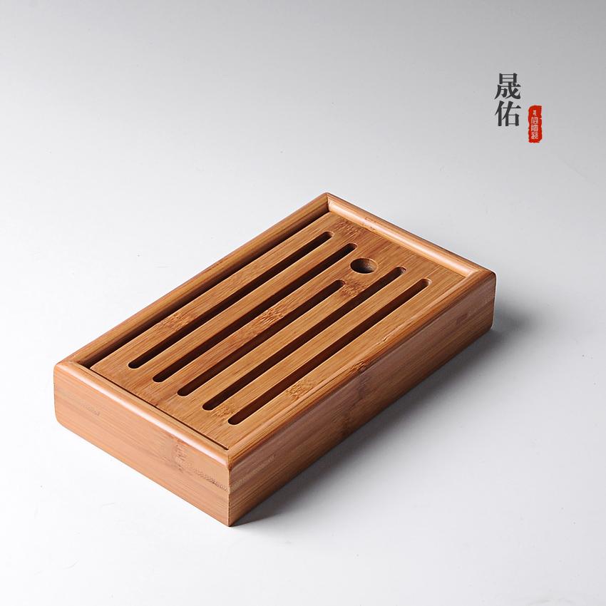 竹制小茶盘方形干泡盘小号竹制迷你储水式托盘茶海台功夫茶具茶道