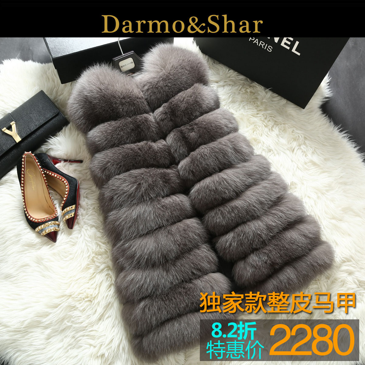 Новый 2015 зимний мех лисий мех жилет жилет длинные женских полушубок в классическом стиле