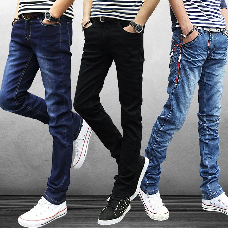 Осенне зимние мужские джинсы мужские прямые ноги тонкий корейской версии упругих ног прилива подростков осень длинные брюки брюки