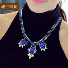 The new 2015 European and American fashion brand exclusive original design multi-layer weave a gorgeous exaggerated short necklace